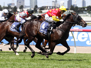 Zululand, (Stephen Baster), wins the Group 2, Sires' Produce Stakes, at Flemington, 08 March,, 2014. Copyright: Colin Bull / Sportpix.